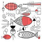 Mid-Century Fish Salmon Pink by Gail Gabel, LLC