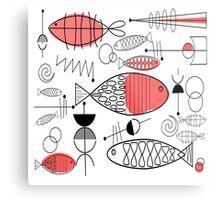 Mid-Century Fish Salmon Pink Metal Print
