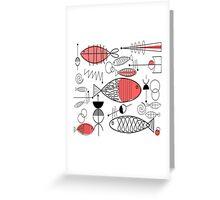 Mid-Century Fish Salmon Pink Greeting Card