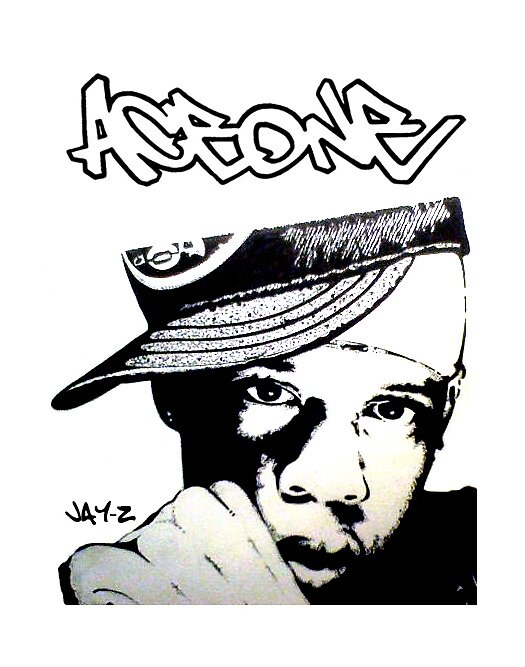 Jay-Z - Black & White Illustration (AceOne Designs) by AceOneDesigns