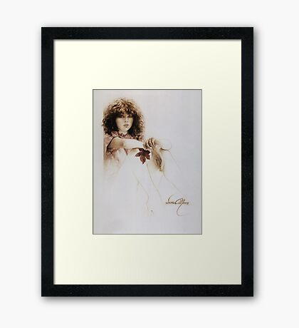 """""""Girl with Maple Leaf"""" Painting in Oils Framed Print"""