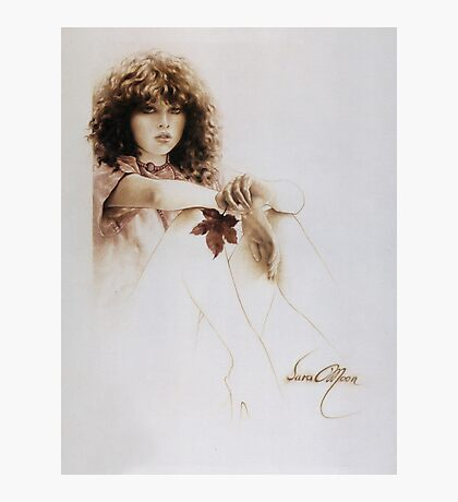 """""""Girl with Maple Leaf"""" Painting in Oils Photographic Print"""