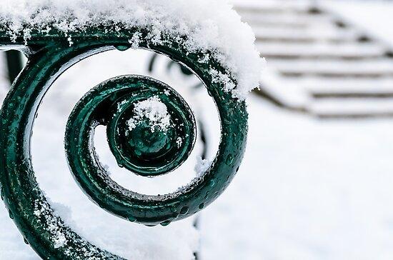 Spiral on a park bench by Ólafur Már Sigurðsson