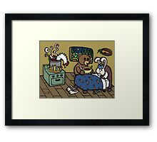 Teddy Bear And Bunny - The Flu Framed Print