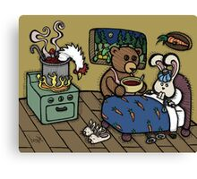 Teddy Bear And Bunny - The Flu Canvas Print
