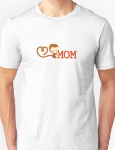 Cute Monkey loves Mom Unisex T-Shirt