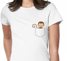Monkey in Breastpocket Womens Fitted T-Shirt