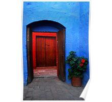 Blue Patio and Red Geranium Poster