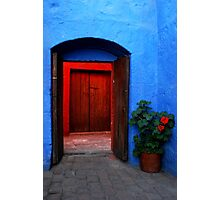 Blue Patio and Red Geranium Photographic Print