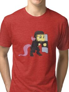 Riot shield Fluttershy - Military Pony Tri-blend T-Shirt