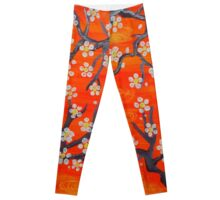 Orange Japanese Trees Leggings