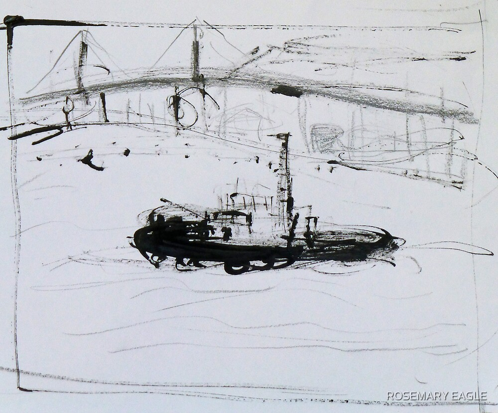 Tug Boat and Bridge No.2 by ROSEMARY EAGLE