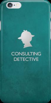 Sherlock Silhouette iPad/iPhone Case - Teal by jlechuga