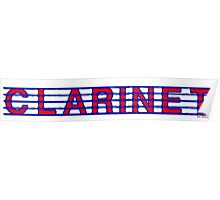 Clarinet Red White & Blue Poster