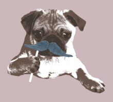Funny Mustache Pug by pencilplus