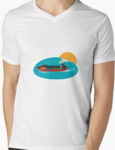 Container Ship Cargo Boat Mens V-Neck T-Shirt