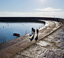 Winter Walking Along The Cobb by Susie Peek