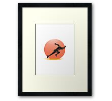 Marathon Runner Athlete Running Finish Line Framed Print
