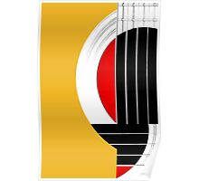 Geometric Guitar Abstract in Orange Red Black White Poster