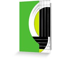 Geometric Guitar Abstract in Green Black White Greeting Card