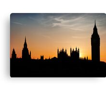 London sunset - The Houses of Parliament & Big Ben Canvas Print