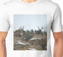 Mule deer bucks first snow Unisex T-Shirt