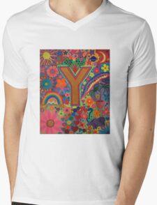 Initial Y Mens V-Neck T-Shirt