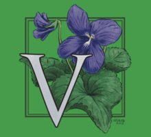 V is for Violet patch One Piece - Short Sleeve