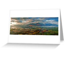 Late afternoon storm over Keswick from Latrigg summit Greeting Card