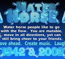 Chinese Zodiac, water horse, 1942, 2002, born,   by Valxart