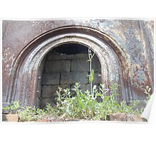 rusting fireplace at Tezcuco Plantation Poster