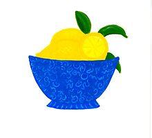 Blue Bowl of Lemons by lemondaisy