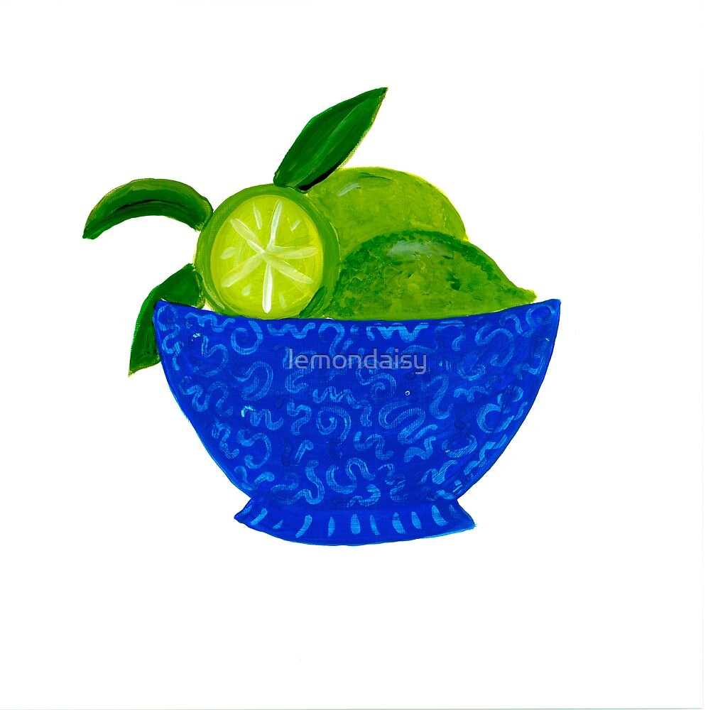 Blue Bowl of Limes by lemondaisy