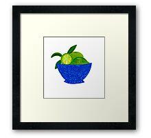 Blue Bowl of Limes Framed Print
