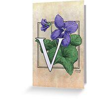 V is for Violet card Greeting Card