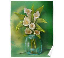 Jar of Calla Lilies Poster