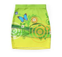 Bright green floral pattern with butterfly Pencil Skirt
