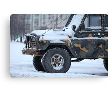truck in the snow Canvas Print