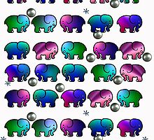 Funky Multicolored Elephants by AntiCollegial