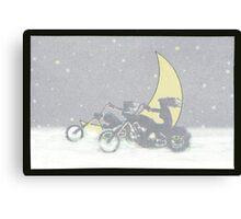 Biker's Moon   girls in the snow Canvas Print