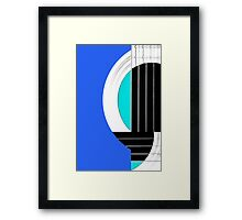 Geometric Guitar Abstract in Blue Black White Framed Print