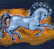 Prancing Blue Horse by Cherie Balowski