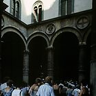 Tourists Entering Palazzo Vecchio Florence Italy 198407090017  by Fred Mitchell