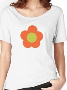 Flowers, Blossoms, Blooms, Petals - Orange Green Women's Relaxed Fit T-Shirt