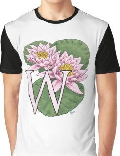 W is for Water Lily floating Graphic T-Shirt