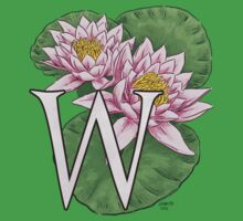 W is for Water Lily floating Kids Tee