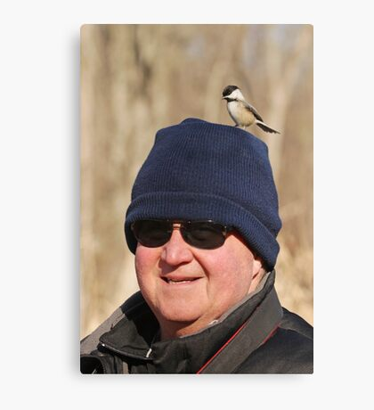 """""""Hey Honey ~ You Have A Chickadee On Your Head !"""" Canvas Print"""