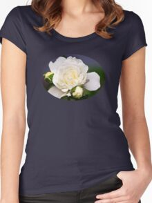 Fresh White Rose Women's Fitted Scoop T-Shirt