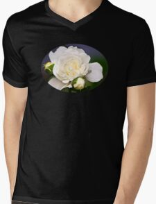 Fresh White Rose Mens V-Neck T-Shirt