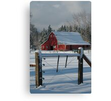 Red Barn Snowed in the Winter Canvas Print